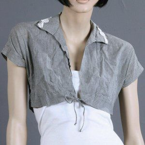 S Vintage 1940s Cropped Top Gingham Bolero